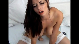 Natural Tits Teen Brunette Dildo Riding Moaning Masturbation Solo