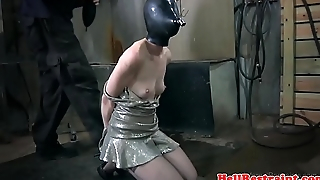 Breath play hooded sub beef prodded