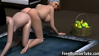 3D cartoon Snow White getting her wet pussy toyed